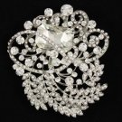"5pcs Swarovski Crystals Gorgeous Wedding Clear Flower Brooch Pin 3.1"" Wholesale"