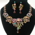 Excellent Swarovski Crystals Snake Skull Necklace Earring Set 5 Colors