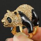 Swarovski Crystals High Quality Brown Cute Bear Panda Cocktail Ring 7#