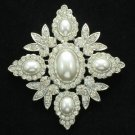 Wedding Bridal Oval Pearl Flower Brooch Pin Clear Rhinestone Crystals