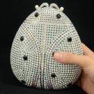 Unique Ladybug Ladybird Clutch Evening Bag Purse W/ Clear Swarovski Crystals