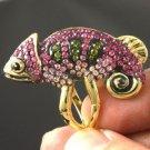 Exquisite Pink Lizard Chameleon Ring 7# W/ Swarovski Crystals