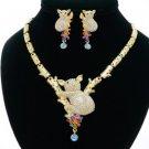 High Quality Gold Tone Bole Koala Necklace Earring Set W/ Mix Swarovski Crystals