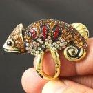 Attractive Brown Lizard Chameleon Ring 7# W/ Swarovski Crystals