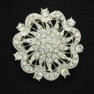 """Bridal Rhinestone Crystals Pretty Clear Flower Brooch Pin 2.2"""" For Wedding"""