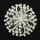 """Bridal Circle Flower Brooch Pin 3"""" Rhinestone Crystals For Wedding"""
