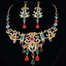 New High Quality Drop Leaf Flower Necklace Earring Set W/ Mix Swarovski Crystals