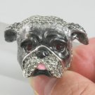 Swarovski Crystals High-Quality Cocktail Animal Gray Boxer Dog Ring 7#