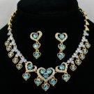 Swarovski Crystals Blue Love Heart Necklace Earring Set