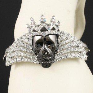 Swarovski Crystals Black Skull Bracelet Bangle Cuff For Halloween