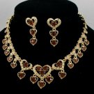 Swarovski Crystals Beautiful Brown Love Heart Necklace Earring Set