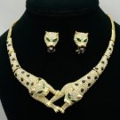 Brother Panther Leopard Necklace Earring Set W/ Clear Rhinestone Crystals