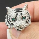 Cute Silver Tone Tiger Ring 7# New w Swarovski Crystals