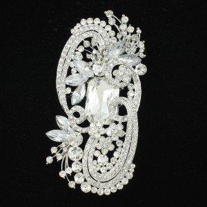 """Hot Fashion Clear Flower Brooch Pin 4.1"""" Swarovski Crystals Wedding"""