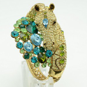 High Quality Steed Horse Bracelet Bangle Cuff W/ Apple Green Swarovski Crystals