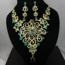 Hot H-Quality Peafowl Peacock Necklace Earring Set W/ Green Swarovski Crystals