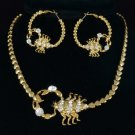 H-Quality Gold Tone Scorpion Necklace Earring Set w Clear Swarovski Crystals