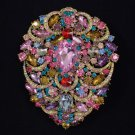 "Hot Big Drop Multicolor Pendant Flower Brooch Pin 4.9"" W/ Swarovski Crystals"