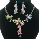 High Quality Swarovski Crystals Multi Cats Cat Necklace Earring Set 4 Colors