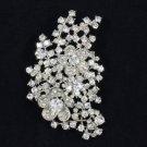 "Trendy Flower Pendant Brooch Broach Pin 3.1"" Clear Swarovski Crystals"