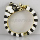 Enamel Animal Zebras Elephant Bracelet Bangle Cuff w Rhinestone Crystals