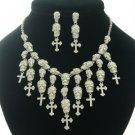 Lots Skull Cross Necklace Earring Set W/ Clear Swarovski Crystal