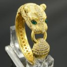 White Enamel Panther Leopard Bracelet Bangle Cuff W/ Clear Swarovski Crystals