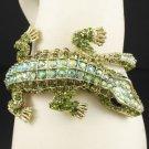 Green A/B Crocodilian Crocodile Bracelet Bangle Cuff W/ Swarovski Crystals