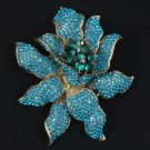 "Pretty Turquoise Flower Brooch Pin 3.7"" Rhinestone Crystals"