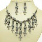 Lots Skull Cross Necklace Earring Set W/ Black A/B Swarovski Crystals