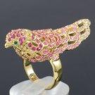 Swarovski Crystals Cocktail Pink Fashion Animal Bird Ring 7#