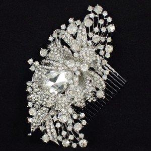 Rhinestone Crystals Retro Tiara Fashion Bridal Flower Hair Comb Pieces Wedding