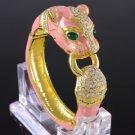 Swarovski Crystals Capri Pink Enamel Animal Panther Leopard Bracelet Bangle Cuff