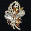 """Popular Brown Flower Brooch Pin 3.5"""" w/  Rhinestone Crystals"""