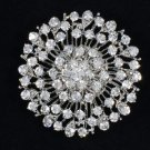 "New Round Flower Brooch Pin 2.0"" W/ Clear Rhinestone Crystals For Bridal"