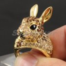 Brown Bunny Rabbit Ring Size 8# W/ Swarovski Crystals for Easter