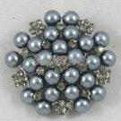 New Swarovski Crystals Cute Imitation Pearl Gray Flower Brooch Pin