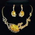 Yellow Glass Animal Dragon Necklace Earring Set W/ Brown Swarovski Crystsls