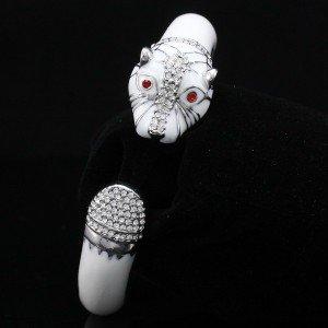 Retro Swarovski Crystals Animal Enamel Clear Panther Leopard Bracelet Bangle
