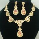 Drop Topaz Swarovski Crystals Zircon Flower Necklace Earring Set