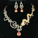 New Pretty Animal Brown Dragon Necklace Earring Set W/ Swarovski Crystsls