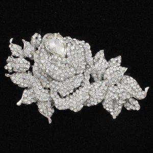 """Clear Leaf Flower Brooch Broach Pin 3.9"""" W/ Swarovski Crystals"""