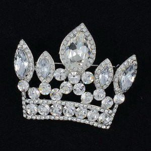 "Wedding Exquisite Crown Pendant Brooch Pin 2.3"" W/ Clear Rhinestone Crystals"