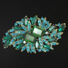 "Swarovski Crystals Fashion Green Flower Brooch Pin 3.7"""