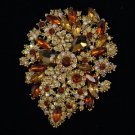 Retro Beautiful Rhinestone Crystals Light Smoked Topaz Flower Brooch Pin 3.9""