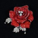 """Retro Cute Red Rose Flower Brooch Pin 2.1"""" W/ Rhinestone Crystals"""
