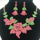 Leaf Pink Bud Rose Flower Necklace Earring Set W/ Swarovski Crystals