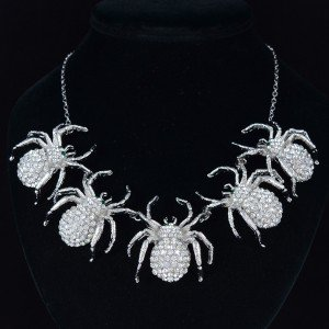Fashion Charm Exquisite 5 Spider Necklace Pendant w/ Clear Swarovski Crystals