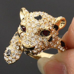 Cute Animal Panther Leopard Cocktail Ring Size 6# W/ Clear Swarovski Crystals