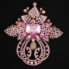 "Vintage Style Big Pink Flower Brooch Broach Pin 4.5"" W/ Rhinestone Crystals"